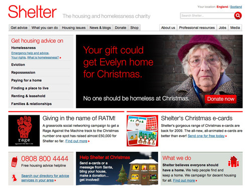 Shelter website home page