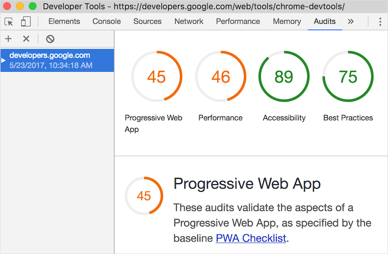 Chrome DevTools Audits panel powered by Lighthouse