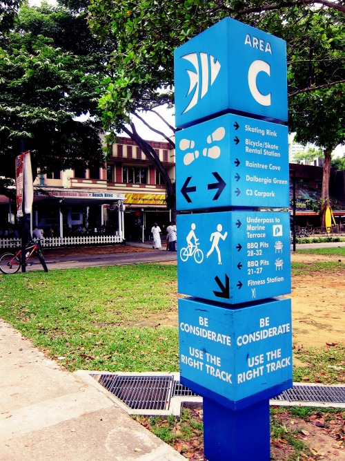 Wayfinding and Typographic Signs - blue-park-sign