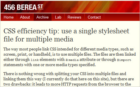 CSS efficiency tip: use a single stylesheet file for multiple media