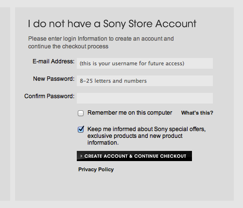 Sony Electronics Checkout Step 2 Account