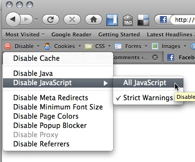 Disable JavaScript with the web developer toolbar
