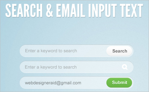 Search and Email Input Text PSD