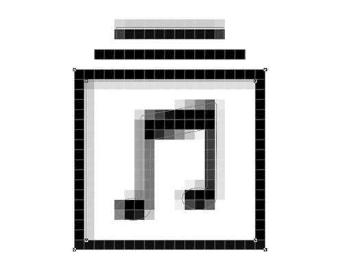 The anchor points of the bottom and the right side are now aligned to the pixel grid