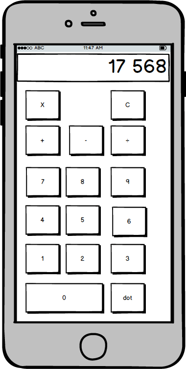 Calculator wireframe example