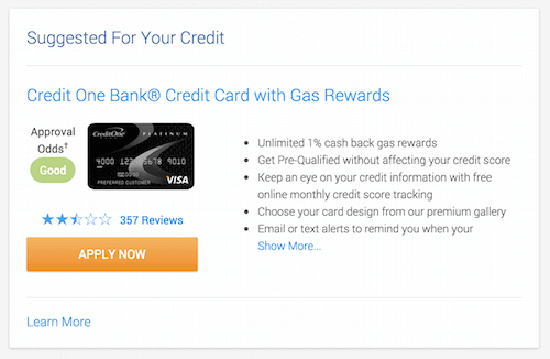 Credit Karma's predictive credit card eligibility feature