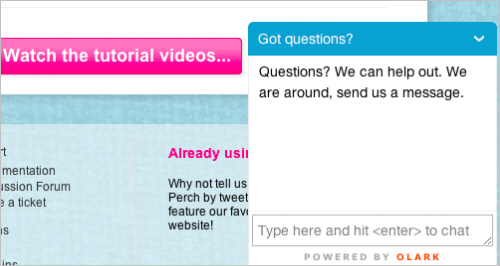 Olark chat window on the Perch website