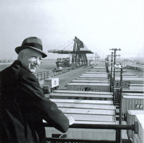 Malcolm McLean at railing, Port Newark, 1957