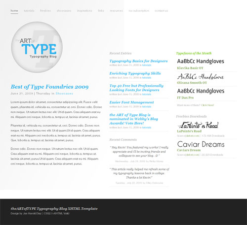 Type Layout For Free Download - theARTofTYPE Typography Blog Template