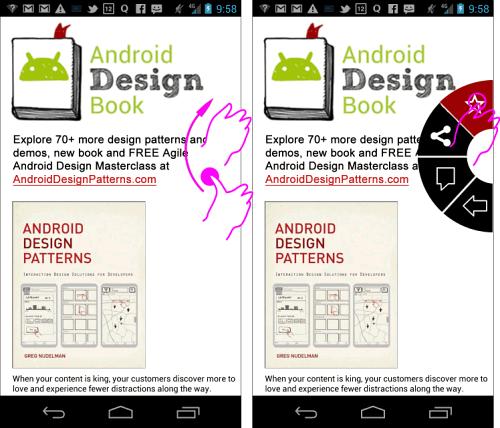 Swipe-and-release gesture in Flipboard app.