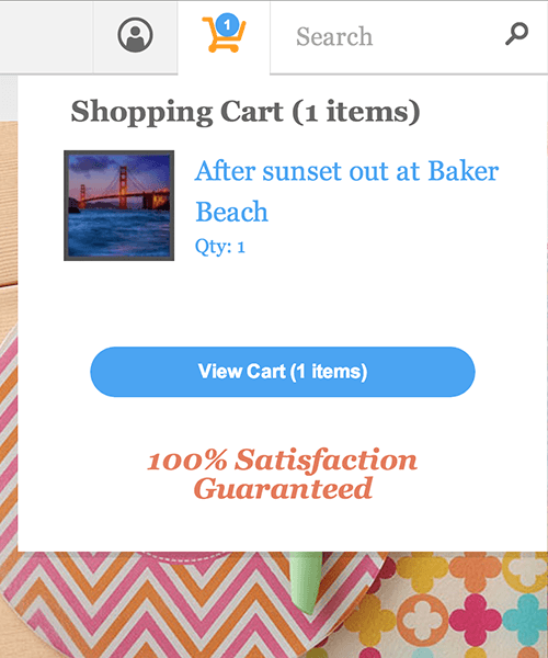 Zazzle's desktop cart popover
