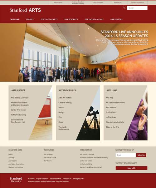 Screenshot of Stanford Arts home page