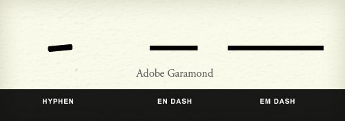 Dashes: hyphen, en dash, em dash