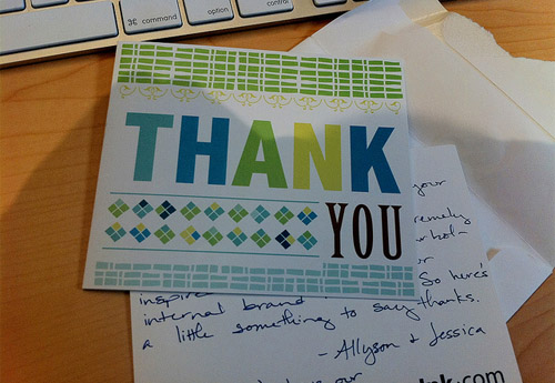 Handwritten thank you message