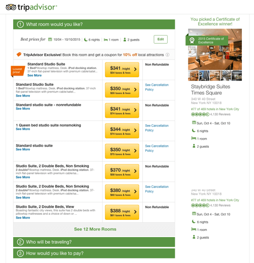 Screen 4: Hotel selected and TripAdvisor used to book