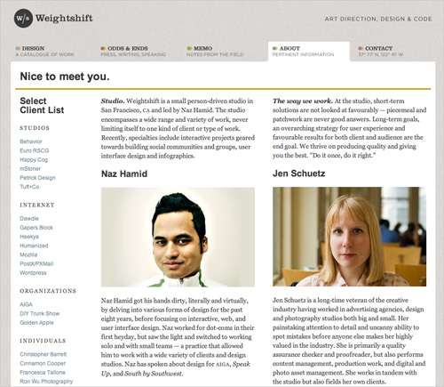 Weightshift.com's about page shows team members and describes who they are.