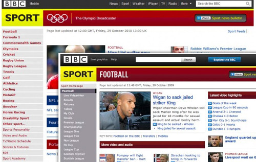 Screenshot of the old BBC sports website