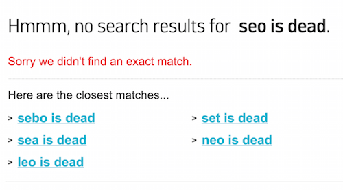Argos search results for SEO is Dead