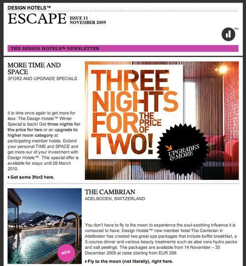 Email newsletter design guidelines and examples for Design guide for hotels