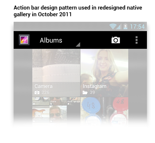 Action bar design pattern in redesigned gallery.