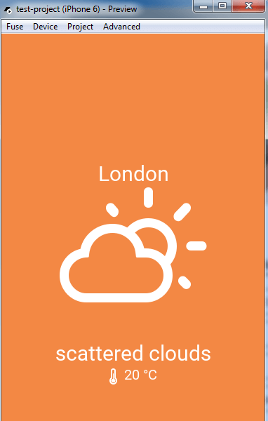 Weather app Fuse preview