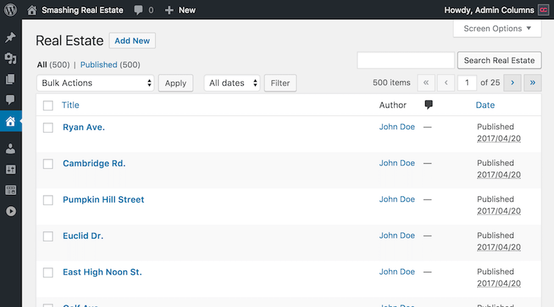 admin overview screen for custom post types