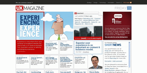 Screenshot of the UX Mag homepage