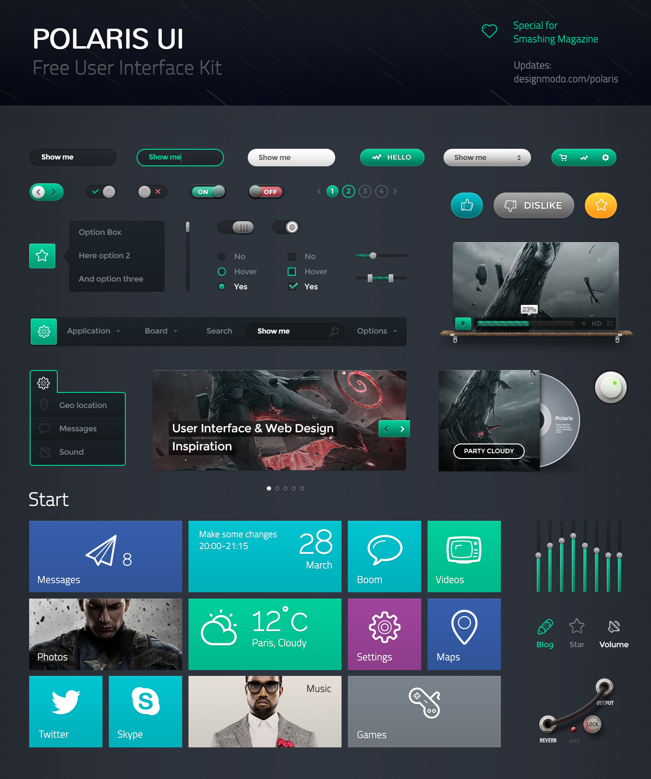 48 Pleasant Polaris UI Kit + Linecons Icons For Free