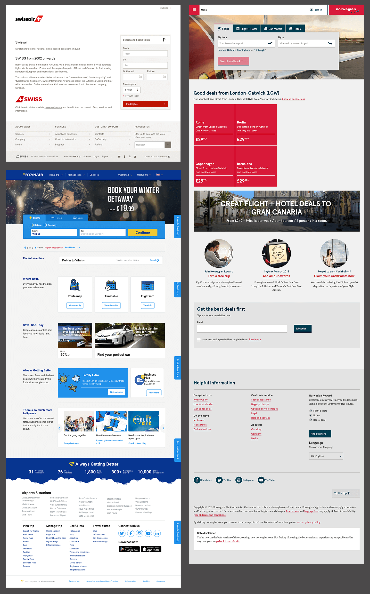 The State Of Airline Websites 2015 Lessons Learned Smashing Magazine Mainly Serve As A Getaway But Would Appreciate More Experienced Swiss Norwegian Airlines And Ryanair Seem To Have Simplest Designs