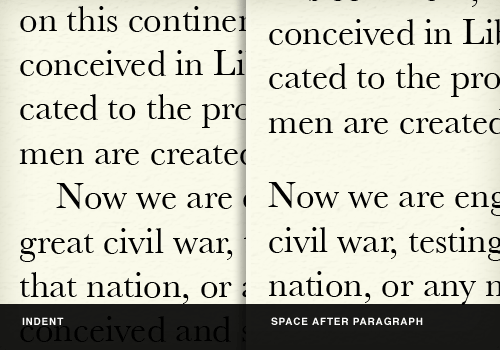 indent vs. space after paragraph