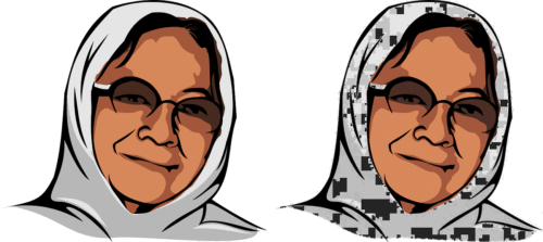Two images of an old woman, the second full of image rendering artifacts