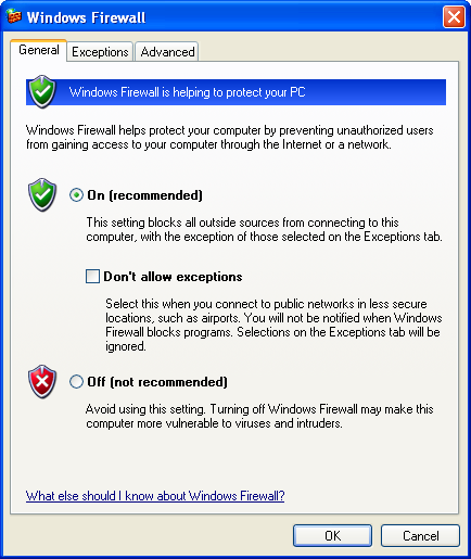 Configuration screen for Windows Firewall in Windows XP Service Pack 2.