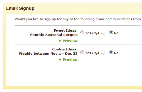 Hershey's Kitchen sign up page