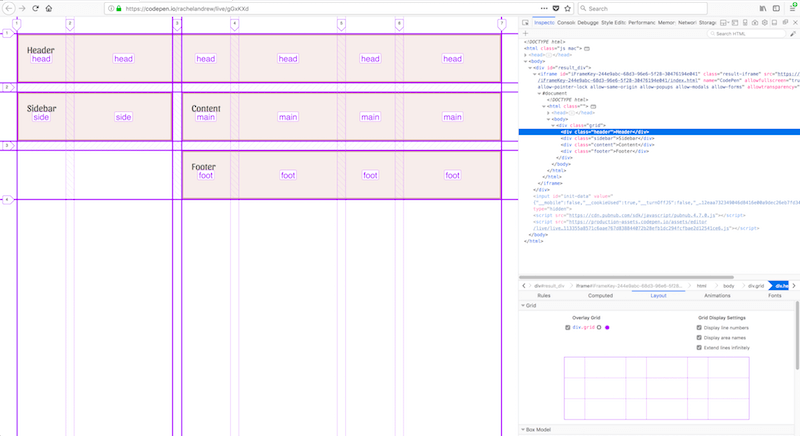 The Grid Inspector in Firefox demonstrating named areas