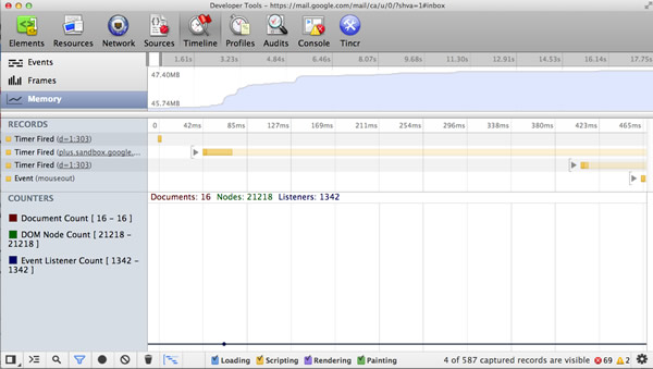 Memory statistics in Chrome Developer Tools.