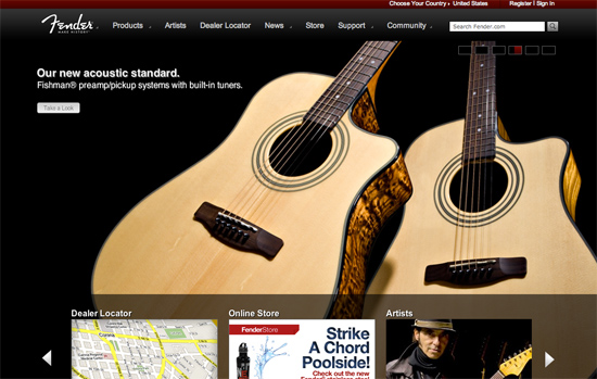 Screenshot, Fender.com.