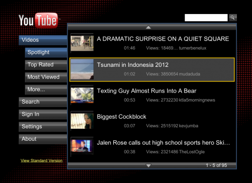 When you visit YouTube from a PS3, you will be redirected to YouTube XL.
