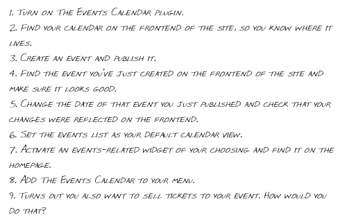 Steps for Testing The Events Calendar 1st Time User Experience