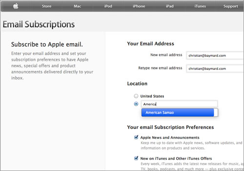 Apple Email Subscription