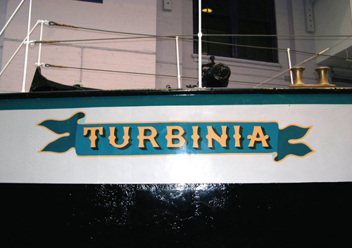 The Turbinia in permanent dry dock.