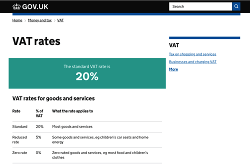 Looking for VAT rates? GOV.UK has you covered