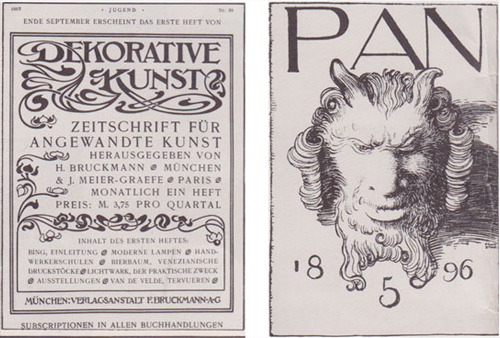Title pages from German avant-garde publications Dekorative Kunst and Pan, examples of lettering during the Art Nouveau movement.