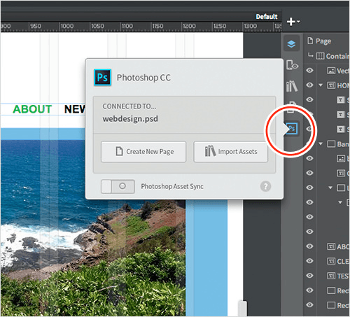 Photoshop CC Connect panel in Reflow.