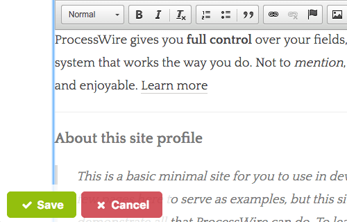 Screenshot of editing content on your website's front-end.