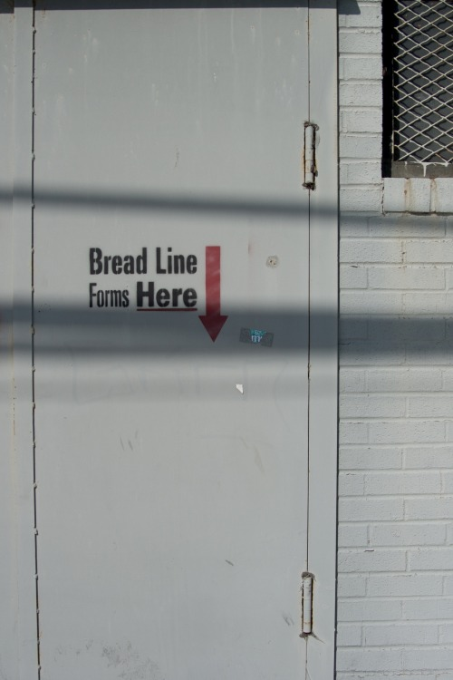 Wayfinding and Typographic Signs - bread-line-forms-here
