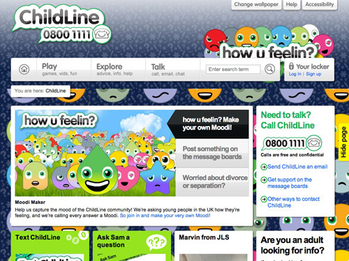 ChildLine website home page