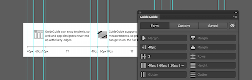 Image of an Illustrator document with the three column icon grid from before, now created using the GuideGuide form.