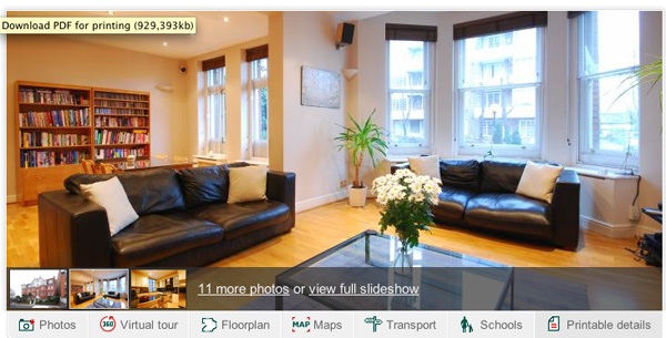 The interior of a flat for sale