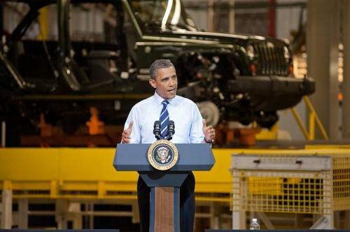 Obama in a jeep factory - original with context