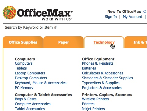 Officemax mega-menus facilitate category scanning